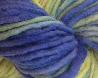 Bulky / Chunky Weight Hand Painted Wool Yarn Pencil Roving in Early Crocus 60 yards Hand Dyed Blue Green