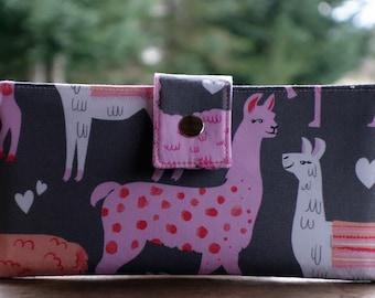 Women's Handmade vegan wallet in a wonderful Alpaca/Llama fabric