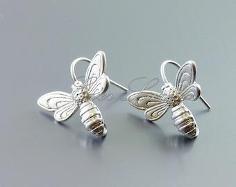 2 honey bee hook earrings, bee earrings, supplies for earring making, bridal / wedding jewelry supplies 1619-MR (matte silver, 2 pieces)