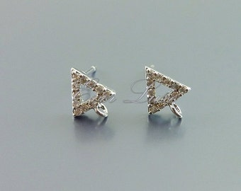 2 tiny triangle CZ / Cubic Zirconia pave stud earrings, CZ crystal earrings, bridal / wedding earrings 1075-BR (bright silver, 2 pieces)