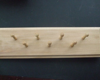 Wood jewelry necklace 7 peg wall hanger organizer handmade
