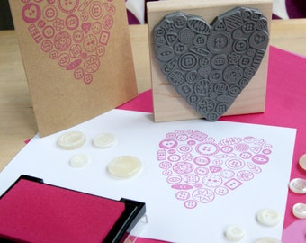 Large Button Heart Rubber Stamp - Wedding Stamper - Gift for Crafter - Wedding Invitation - Wedding Gift - Present Button Lover - Scrapbook