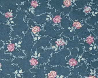 Vintage Cotton Fabric Romantic Pink Roses on Green Springs Industries 1 and 1/2 Yards