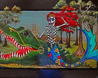 """Day of the Dead MERMAID RIDING an ALLIGATOR  **  11"""" x17"""" Print of Original Acrylic on Canvas"""