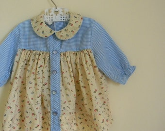 Vintage Baby Girl's Gingham and Floral Print Dress / Tunic - Size 6-12 Months