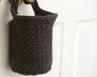Hanging Basket, Doorknob Basket, Crochet Basket in Dark Grey