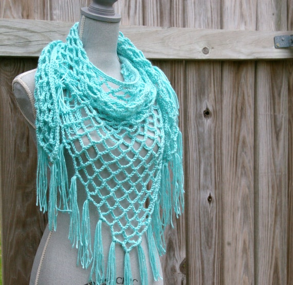 Items similar to Crochet Scarf, Crochet Shawl, Lattice Triangle Scarf ...