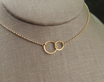 Small gold entwined circles and gold filled necklace, linked circles, gold rings, gold circle necklace, interlocking circles