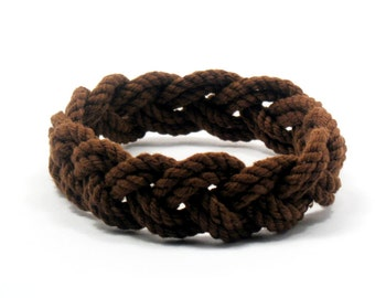 Turks Head Sailor Knot Bracelet Woven Narrow in Brown Cotton String Bracelet