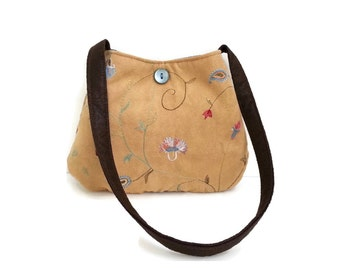 Spring purse, embroidered flowers, tan bag, two tone, small handbag, made in usa, fabric purses, handmade purses, Item #CJF77-1013