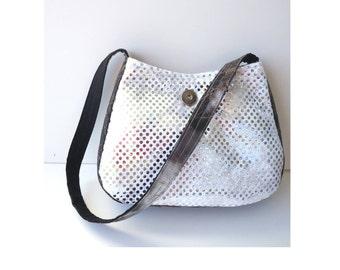 Black White Purse / gift for teen / Soft Grunge / Sparkly Purse / Nu Goth / tie dye bag / small boho bag / RTS / Item #CJF77-1002