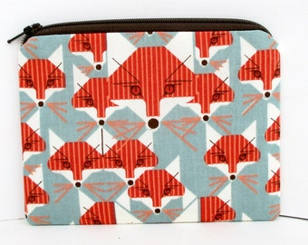 Charley Harper Foxes, Small Zipper Pouch, Zippered Bag