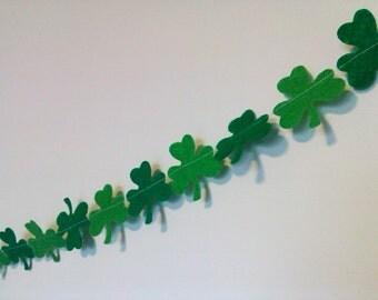 St. Patrick's Day Garland, Shamrocks, Felt Green Decor, Banner, Photo Prop, Irish Wedding