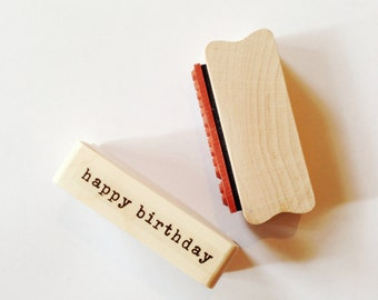 Happy Birthday STAMP Typo Happy Birthday Rubber Stamp for Birthday Party Card Making