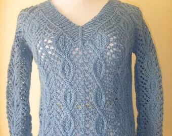 Steel blue cotton blend sweater no. 245