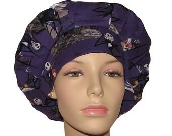 Nightmare Before Christmas Fabric-Bouffant Scrub Hat-ScrubHeads-Etsy Scrub Hats-Scrub Caps-Holiday Scrub Hats-Women's Scrub Hats-Gift