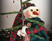 Primitive Stump Snowman and his tree ~ MADE TO ORDER