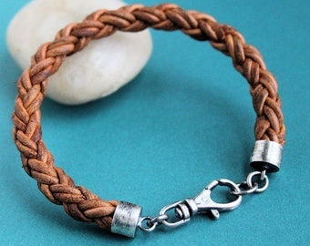 Mens Braided Leather Bracelet, Light Brown Sterling Silver Clasp
