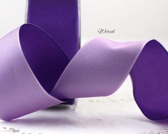 """Wired Reversible Purple/Lavender Ribbon, 1.5"""" wide by the yard, Wired Ribbon, Double Faced Satin, Wedding, Gift Wrap, Bows, Party Supplies"""