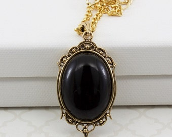Black Onyx Pendant, Long Gold Chain Necklace With Large Oval Gemstone Pendant, Renaissance Jewelry, Gift Ideas For Women, 23 Inch Chain