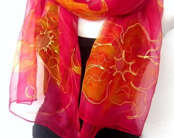 Red Silk Scarf Handpainted, Hand Painted Silk Scarf, Red Gold Yellow Orange, Floral, Orchids, Silk Chiffon Scarf, Gift Under 50