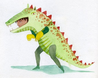 Original watercolour painting of child in a dinosaur suit