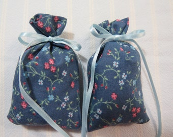 "Blue 3""X2"" Sachet-'Lavender' Fragrance-Pink and Blue Floral Sachet-Light Blue Ribbon-Cotton Fabric Herbal Sachet-Cindy's Loft-376"