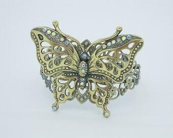 Butterfly Bracelet, Cuff Bracelet, Gold Bracelet, Gold Bracelet Cuff, Butterfly Jewelry, Chunky Bracelet, Rhinestone Bracelet, B260