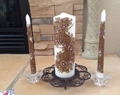 Wedding Unity Candle Set,Pillar Candle with Henna Design Hand painted, Modern Candle Art