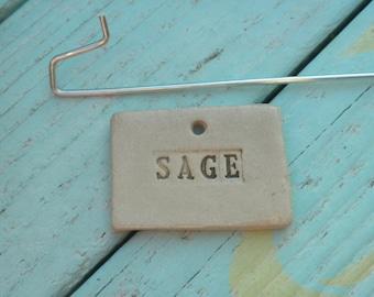 Handmade Ceramic Sage Plant Marker