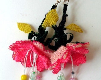 Crochet Flower Earrings Dangle Earrings Oya Earrings Lace Earrings gift for her Crochet Jewelry
