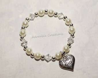 White Pearl & Swarovski Crystal Flower Girl Heart Bracelet - You Pick Crystal Color