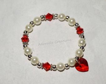 White Pearl & Red Swarovski Crystal Heart Bracelet