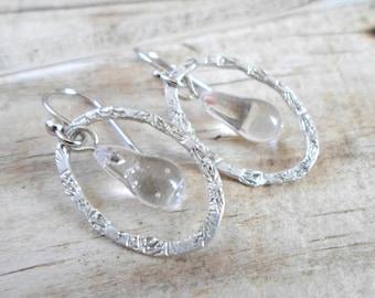 Glass Lampwork Earrings, Sterling Silver Textured Hoop Earrings, Handmade Jewelry, Glass Lampwork Jewelry, Unique Fashion Jewelry Gift Ideas