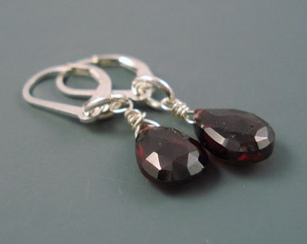 Garnet Gemstone Earrings with Sterling  Silver, Large Garnet Teardrops and Lever Back Wires