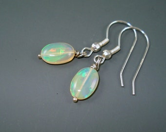 Opal Earrings, Ethiopian Fire Opals on Sterling Silver French Wires, Double Rondelles