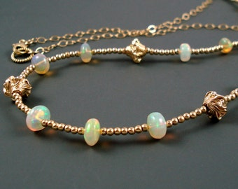Opal Necklace with Ethiopian Fire Opals, Vermeil Beads, Gold Filled Chain and Extreme Fire