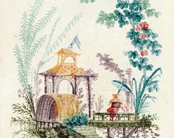 Antique chinoiserie wallpaper illustration waterfall design for Waterfall design etsy