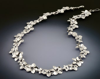 Hawaiian Plumeria Necklace in Sterling Silver with Three Flowers