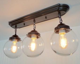 Biddeford II. Modern Ceiling Light Fixtures Rectangular Trio
