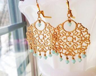 Mint Green Gold Chandelier Bridal Earrings Bollywood Filigree by MinouBazaar