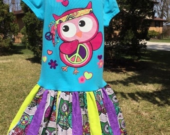 SALE Hippie Owl Upcycled T-shirt dress, Size 3/4, ready to ship, stripwork, turquoise pink purple green gray, retro, glitter, colorful