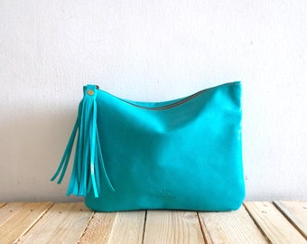 Turquoise leather clutch, women purse