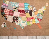 Quilted Fabric US Map - Unique Scrap Fabric & Burlap Patchwork American States Wall Hanging