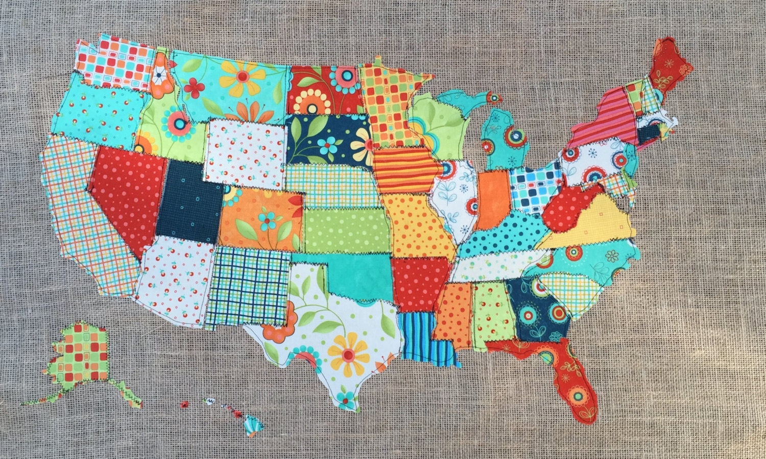 Children Usa Map Etsy - United states watercolor map