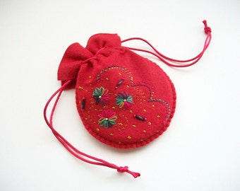 Felt Pouch Red Drawstring Bag with Hand Embroidered Flowers Handsewn