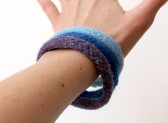 3 Wool Bracelets Custom Colors Felted Wool Bangles by KnittyVet