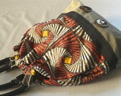 Spider Tote with orange and black striped geometric pattern