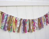 Easter Spring Rag Tie Banner // Rag Garland // Photo Backdrop // Shabby Chic Holidays // Easter Decor // Holiday Decor -Free U.S. Shipping