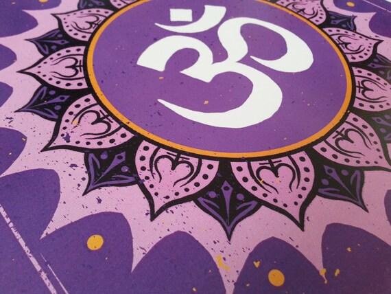OM Symbol with Lotus, purple, white, black and orange print